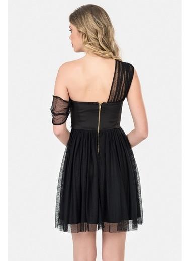 İroni Puantiye Tüllü Mini Abiye Elbise Siyah